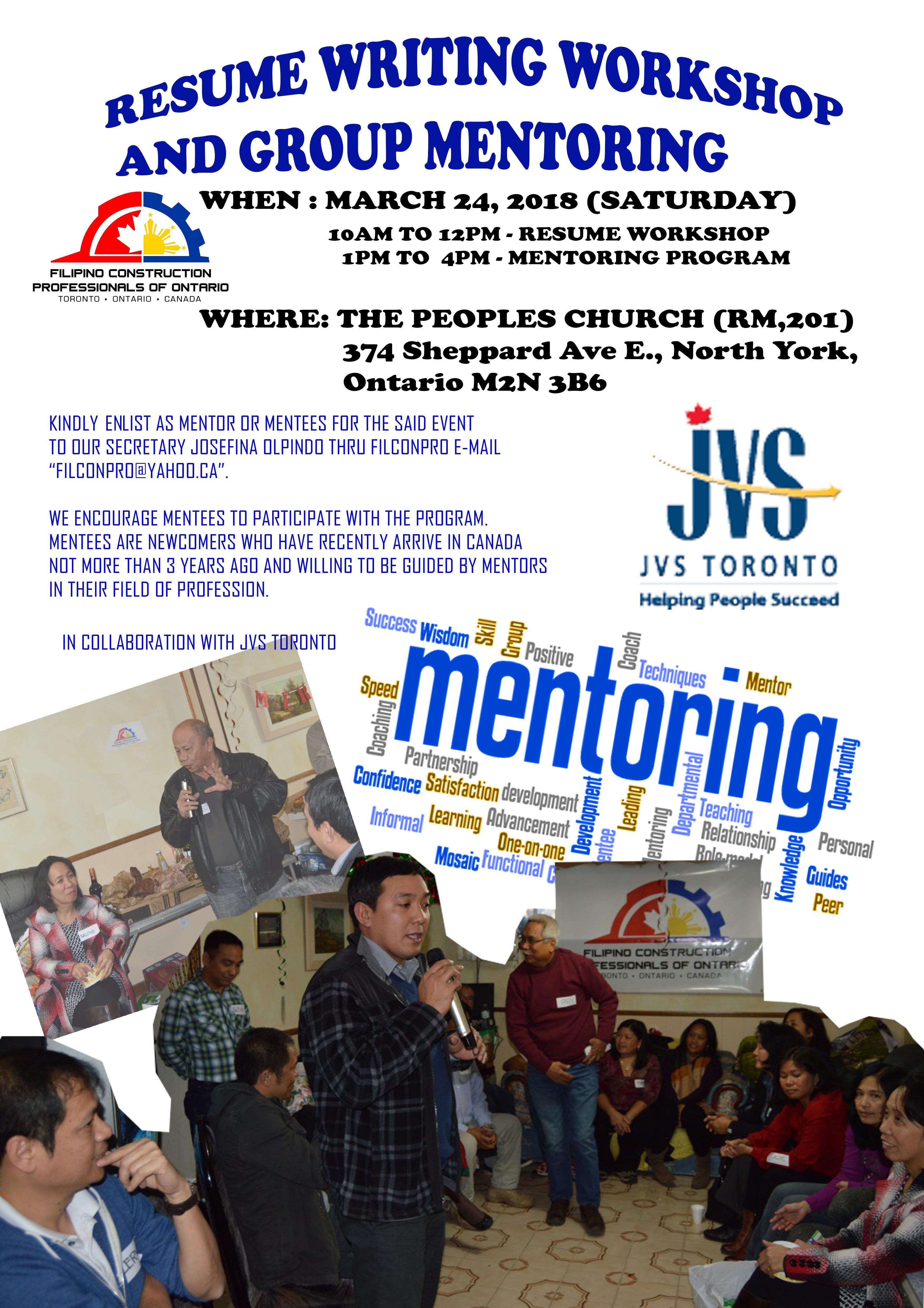 resume writing workshop and group mentoring program